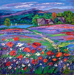 Trossach Bluebells and Poppies by Lynn Rodgie - Original Painting on Stretched Canvas sized 30x30 inches. Available from Whitewall Galleries
